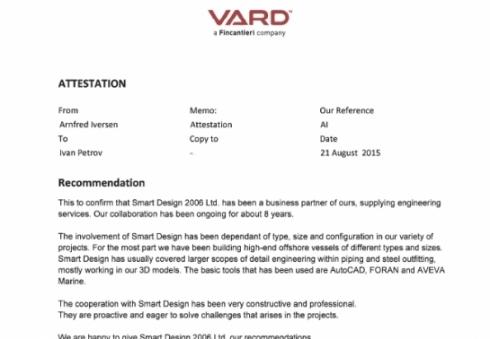 Recommendation from Vard Sipyard Soviknes, Norway