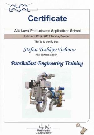 Alfa Laval Certificate